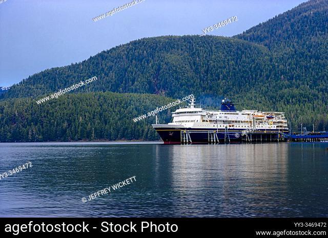 The M/V Kennicott docked at the Sitka Terminal. Sitka, Alaska, USA. Photography by Jeffrey Wickett, The Alaska Marine Highway System operates along the...
