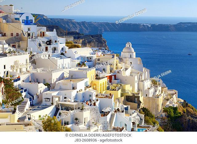 View of Thera and Aegean Sea , Santorini, Aegean Island, Cyclades Islands, Greek Islands, Greece, Europe