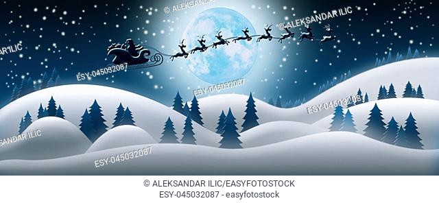 Santa Claus Rides Reindeer Sleigh in Christmas Night Over The Snow Fields With Full Moon and Starry Sky In Background 3D Render