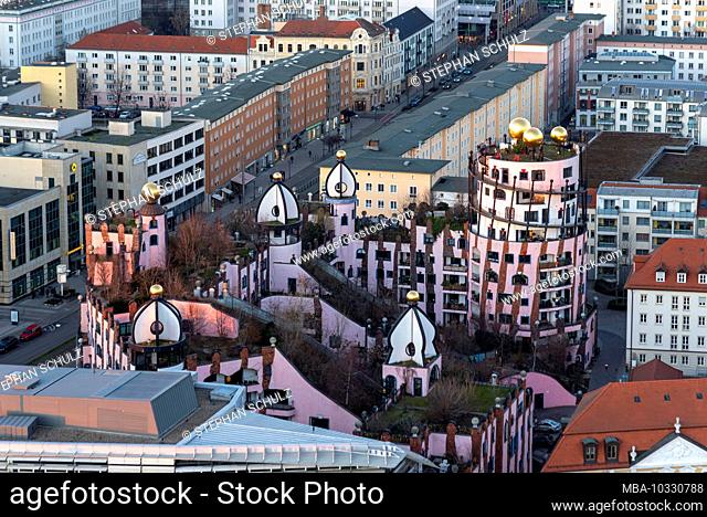 Germany, Saxony-Anhalt, Magdeburg, view from the north tower of the cathedral to the Green Citadel, last large building by the Austrian artist Friedensreich...