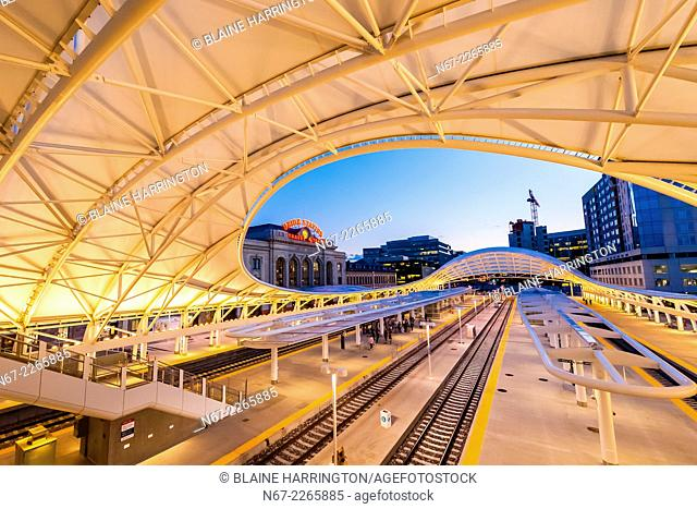 The train hall canopy at the newly renovated Denver Union Station, Downtown Denver, Colorado USA