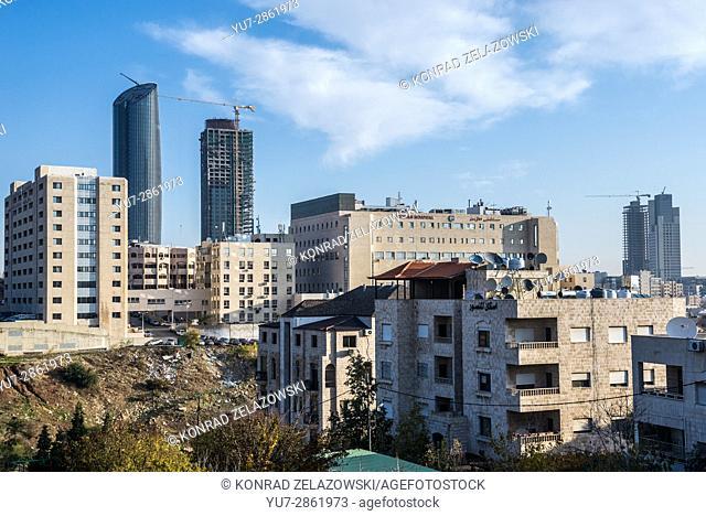 Jordan Hospital and Abdali Project buildings - Rotana Hotel Tower and W Hotel Tower in Amman city, capital of Jordan
