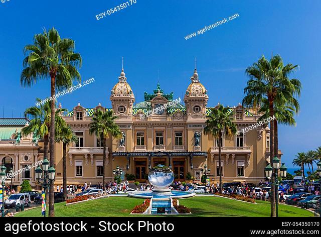 Kingdom Monaco - August 08, 2017: Statue and casino Monte-Carlo