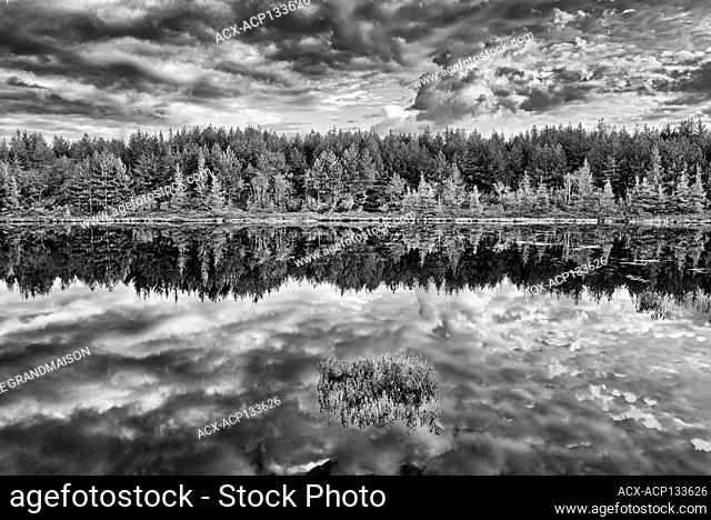 Reflection of clouds in northern lake at sunrise. Greater Sudbury Ontario Canada