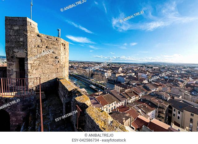 Narbonne as seen from the Gilles Aycelin Dungeon in Languedoc-Roussillon-Midi-Pyrenees, France
