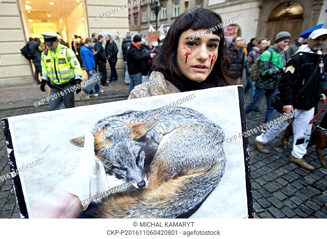 Several hundred activists, wearing animal costumes, participated in a march against fur farms in the centre of Prague, Czech Republic, November 6, 2016