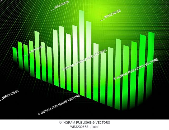 Financial graph background in different shades of green