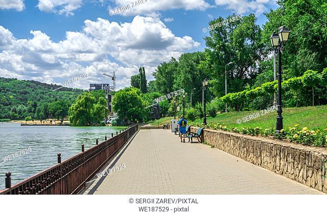 Embankment of Valea Morilor Lake in Chisinau, Moldova, on a sunny summer day