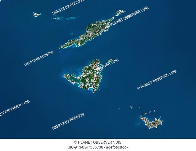 Satellite view of Anguilla, Saint-Martin and Saint-Barthelemy islands. At north is Anguilla, a British overseas territory