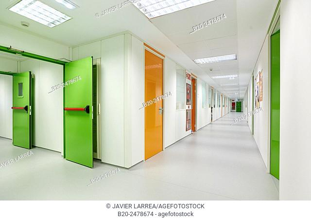 Empty corridor, Hospital Donostia, San Sebastian, Basque Country, Spain