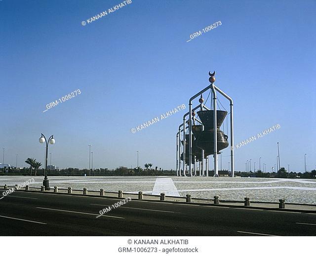 Lanterns at a roundabout in Jeddah, Saudi Arabia