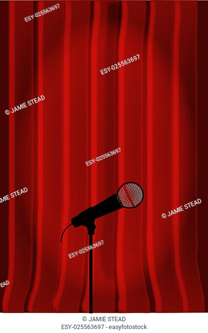 Dark red curtains with a spotlight on a radio microphone
