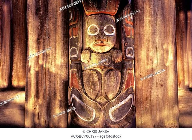 Haida longhouse frontal pole at night, UBC Museum of Anthropology grounds, Vancouver, British Columbia, Canada