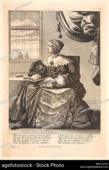 Seated Woman Holding a Book and Singing. Artist: Abraham Bosse (French, Tours 1602/1604-1676 Paris); Publisher: Jean I Leblond (French, ca