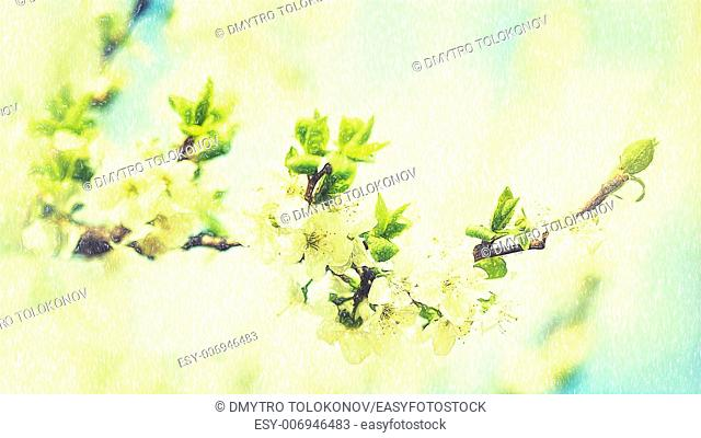 Beauty spring backgrounds with apple tree flowers, fine art simulation from real photo