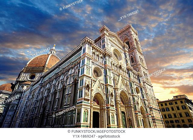 Facade of the the Gothic-Renaissance Duomo of Florence, Basilica of Saint Mary of the Flower, Firenza  Basilica di Santa Maria del Fiore  built between 1293 &...