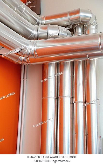 Ventilation pipes, air conditioning, Building , Alava Technology Park, Miñano, Basque Country, Spain