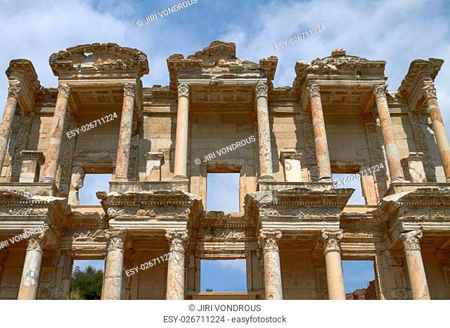 Facade of Ancient Celsus Library in Ephesus Turkey. Ephesus Contains Large Collection of Roman Ruins