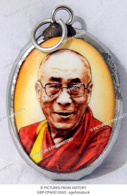 China / Tibet / India: Tibetan Buddhist amulet of The 14th Dalai Lama, Tenzin Gyatso (1935- )