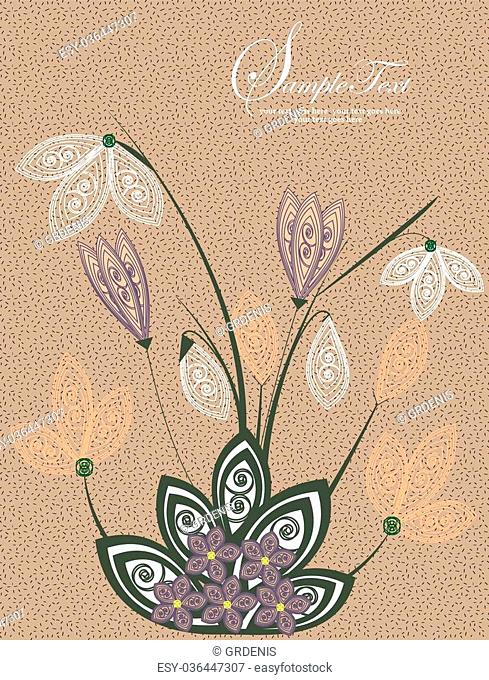 Vintage invitation card with elegant retro abstract floral design, purple white green brown flowers. Vector illustration