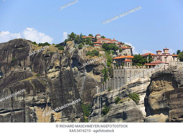 Holy Monastery of Varlaam (foreground), Meteora, UNESCO World Heritage Site, Thessaly, Greece