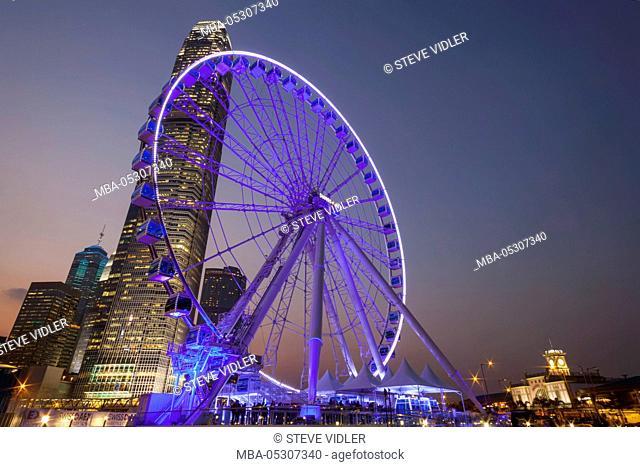 China, Hong Kong, Central, Hong Kong Observation Wheel and City Skyline