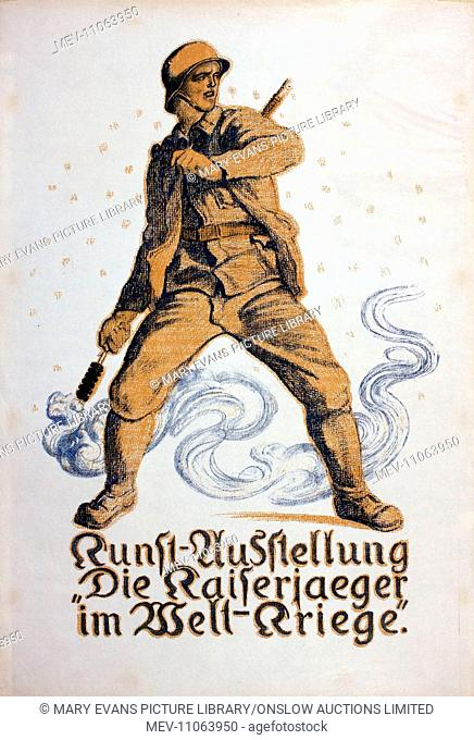 German poster, Art Exhibition, soldier with hand grenade