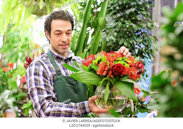 Florist in flower shop