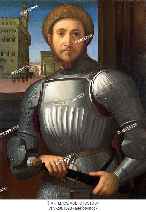 Francesco Granacci . Portrait of a man in armour . 1510. National Gallery - London
