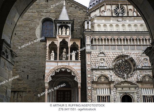 Northern portal arch of the Basilica of Santa Maria Maggiore and the Colleoni Chapel (Cappella Colleoni). View from loggia arch of Palazzo della Ragione