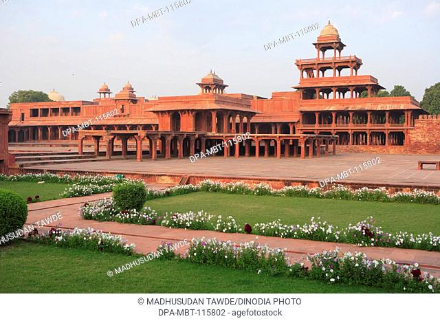Panch Mahal in Fatehpur Sikri built during second half of 16th century made from red sandstone ; capital of Mughal empire ; Agra; Uttar Pradesh ; India UNESCO...