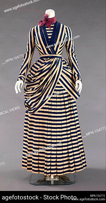 Dress. Date: 1885-88; Culture: American; Medium: cotton, silk; Credit Line: Brooklyn Museum Costume Collection at the museum, Gift of the Brooklyn Museum