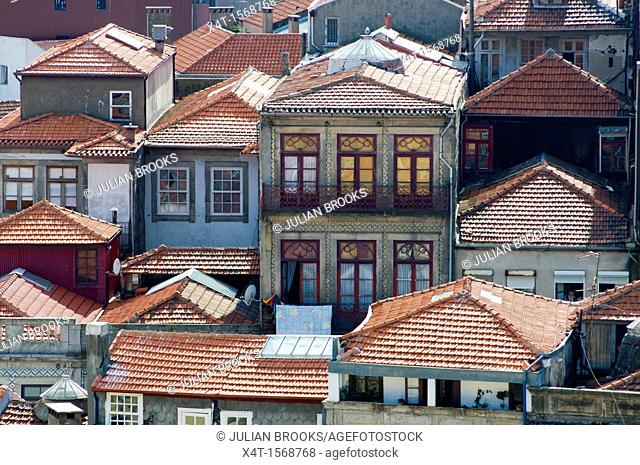 pantile rooftops and typical balconies in Porto