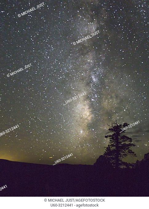 The Milky Way appears on a moonless night at The Grand Canyon at Grand Canyon National Park, Arizona