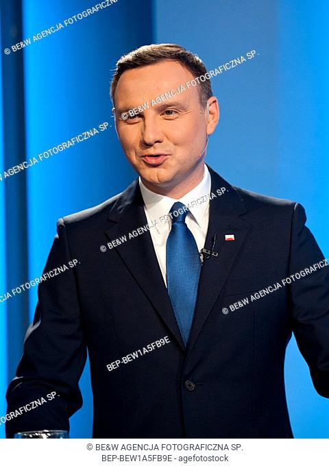 May 5th, 2015 Warsaw, Poland. Studio TVP Pictured: Andrzej Duda
