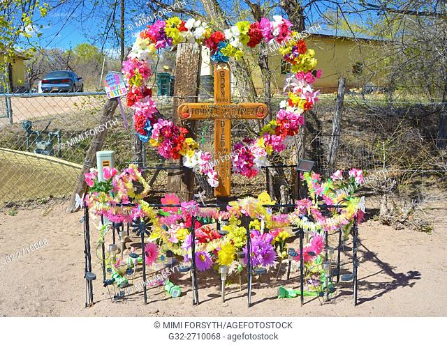 Memorial to a fatality, usually automotive, on the side of the road, Descanso, Northern New Mexico, USA