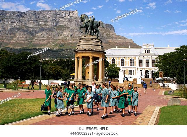 south africa cape town, companys garden, table mountain, equestrian memorial statue, school class, south african museum