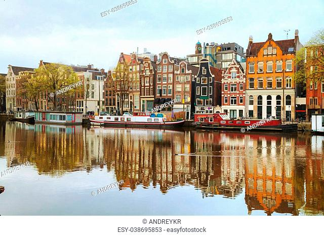 Overview of Amsterdam, the Netherlands at sunrise