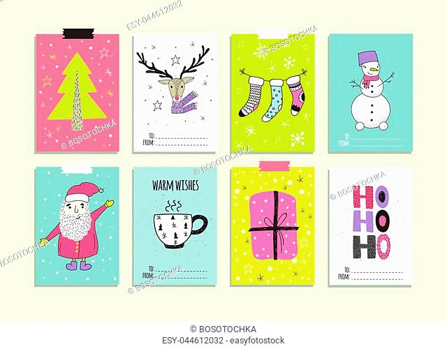 Xmas posters collection. Vector illustration. New Year and winter holiday symbols