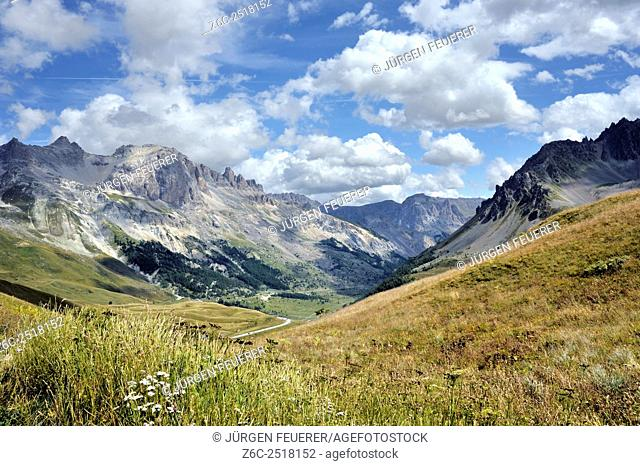 Landscape between pass Galibier and pass Lautaret, Hautes-Alpes, French Alps, France