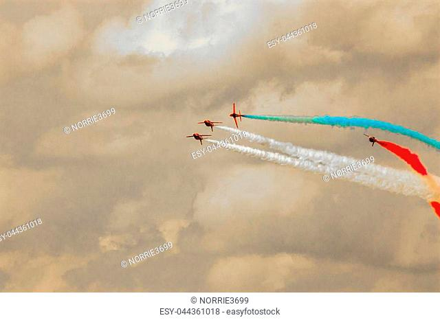A view of the world famous Red Arrows display team doing what they do best