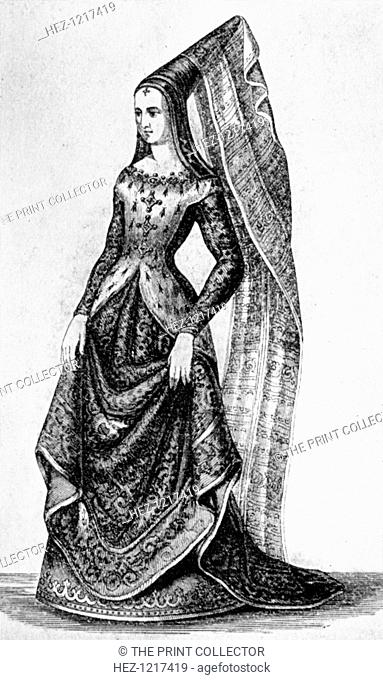 The steeple headdress and veil, 15th century, (1910). Lady of the Tournament wearing rich veiling with her headdress. Illustration from British Costume during...