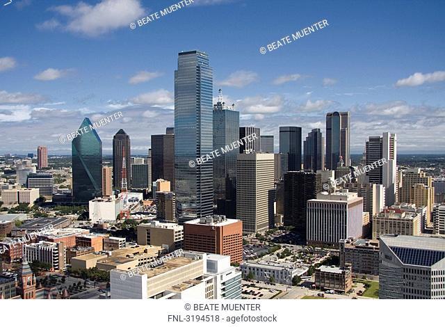 Cityscape of Dallas, USA, high angle view