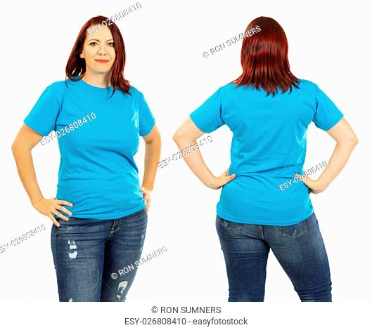 Photo of a woman posing with a blank light blue t-shirt and red hair, ready for your artwork or design