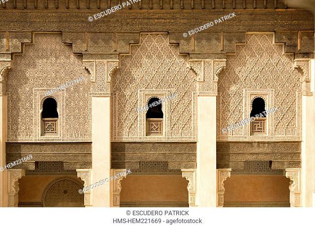Morocco, Haut Altas, Marrakesh, imperial city, medina listed as World Heritage by UNESCO, Ben Youssef medersa Koranic school