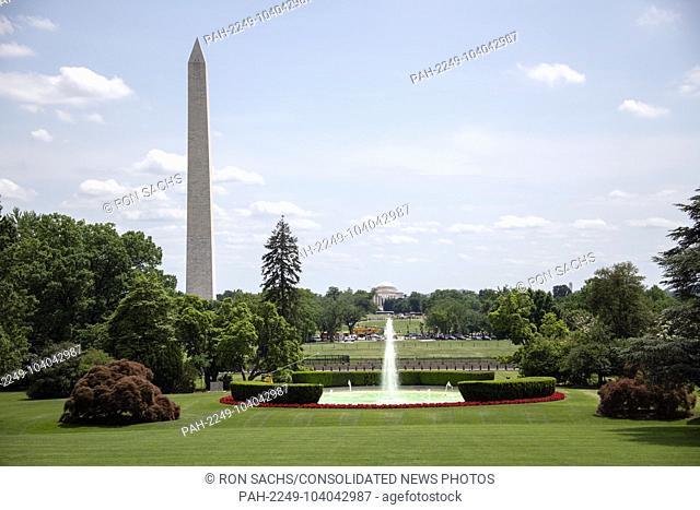 High resolution view of the Washington Monument and the Jefferson Memorial from the South Lawn of the White House in Washington, DC on Monday, May 21, 2018