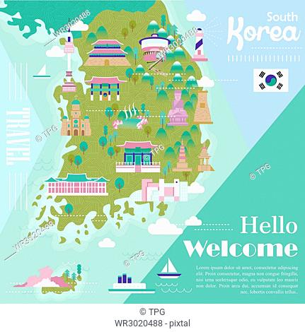 adorable South Korea travel map with colorful attractions