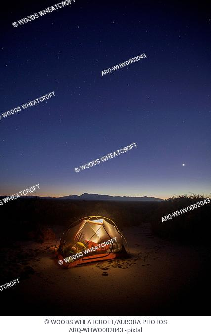 An Illuminated Tent Under A Starry Sky On A Beach At Cabo Pulmo, Baja California, Mexico