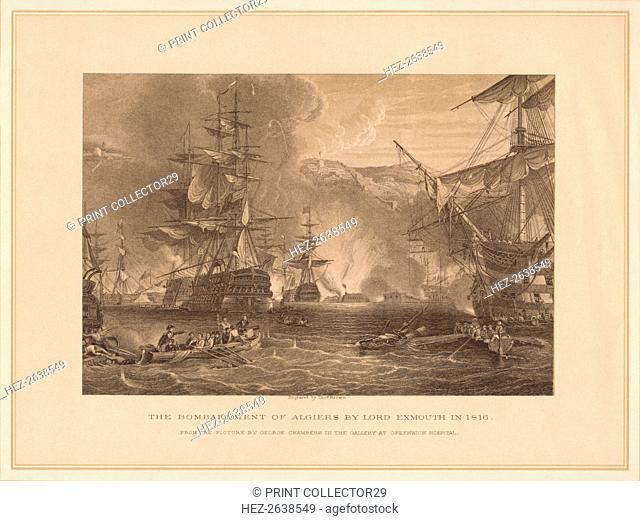 'The Bombardment of Algiers by Lord Exmouth in 1816', (1878). Artist: Thomas Brown