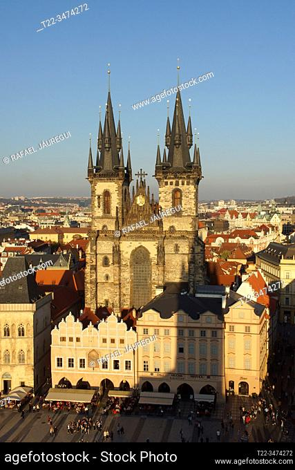 Prague (Czech Republic). Church of Týn. (Chrám Matky Boží pŠ. ed Týnem) in Old Town Square (StaromÄ›stské námÄ›stí) of the city of Prague